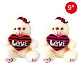 24 Bulk Nine Inch Bear With Heart And Hat