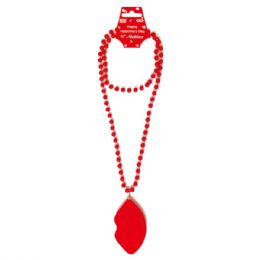 96 Bulk Valentines Day Necklace With Lip