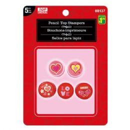 96 Bulk Valentines Day Pencil Top Stampers