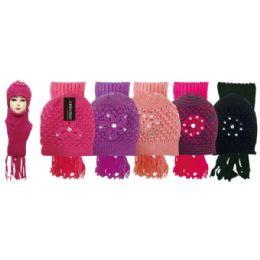 48 Bulk Lady's Scarf Hat Set