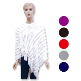 12 Bulk Lady's Knit Cloak In Assorted Colors
