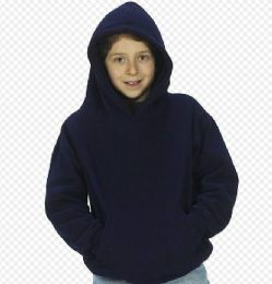 24 Bulk Youth Hooded Pullover Sweatshirts In Navy