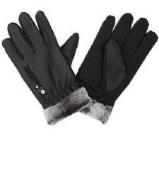 72 Bulk Men Leather Glove With Fur Cuff