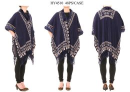 24 Bulk Ladies Poncho In Navy Blue