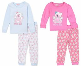 "24 Bulk Toddler Girls ""hug Me"" Pajama Sets - Solid Colors - Sizes 2-4t"