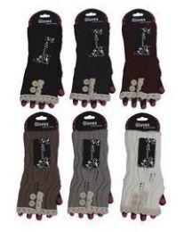 72 Bulk Womens Fashion Fingerless Cotton Glove Hand Warmer
