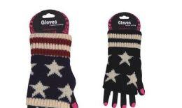 72 Bulk Womens Fashion Fingerless Usa Star Print Cotton Glove Hand Warmer
