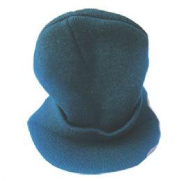 48 Bulk Winter Hat With Visor Black Great