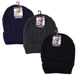 48 Bulk Winter Knit Hat Dark Colors Cable Knit