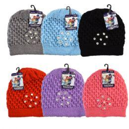 48 Bulk Winter Knit Hat Rhinestones