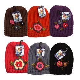 48 Bulk Womens Winter Knit Hat With Floral Rhinestones