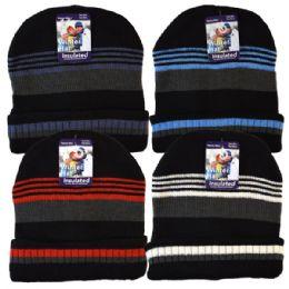 36 Bulk Winter Knit Hat Thin Stripes