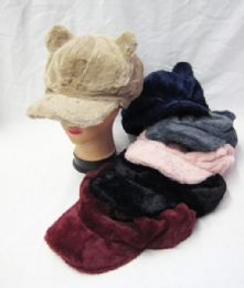36 Bulk Womens Fashion Winter Cap With Ears Assorted Color
