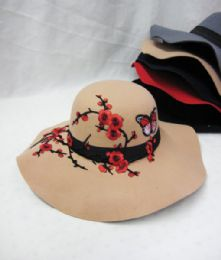 36 Bulk Womens Fashion Winter Hat Floral With Butterflies
