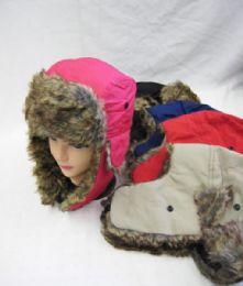 36 Bulk Winter Fashion Pilot Hat With Fur