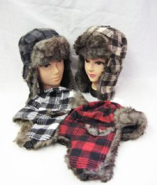 36 Bulk Winter Plaid Pilot Hat