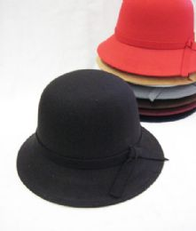 36 Bulk Womens Winter Bucket Hat With Bow Assorted Colors