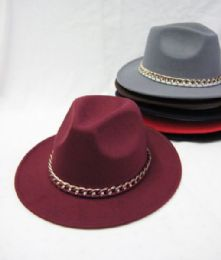 36 Bulk Womens Fashion Winter Hat With Gold Chain Assorted Colors