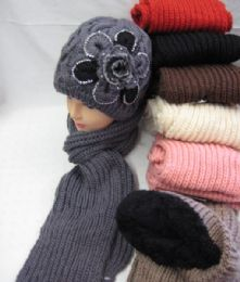 24 Bulk Womens Fashion Winter Hat And Scarf Set With Flower