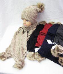 12 Bulk Womens Winter Warm Hat And Scarf Set With Pom Pom