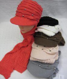 36 Bulk Womens Fashion Winter Warm Hat And Scarf Set With Rhinestones