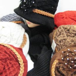 36 Bulk Womens Winter Fashion Hat And Scarf Set With Rope And Flower