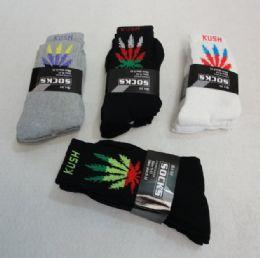 120 Bulk Men's Marijuana Crew Socks 9-11