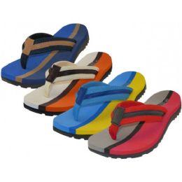 36 Bulk Men's 2 Tone Color Fabric Thong Sandals