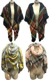 12 Bulk Large Blanket Scarves Wrap Assorted Color Plain Print