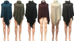 12 Bulk Winter Knitted Poncho With Raised Square Pattern