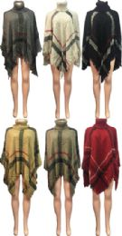 12 Bulk Plaid Print Cowl Collar Poncho Assorted Colors
