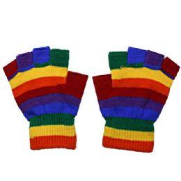 72 Bulk Fingerless Rainbow Glove