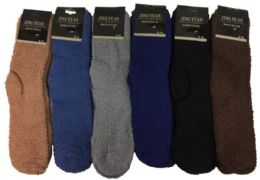 36 Bulk Men's Solid Color Fuzzy Sock