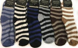 96 Bulk Man Fuzzy Socks With Stripes Assorted