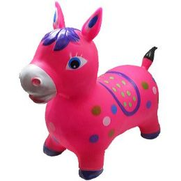 12 Bulk Inflatable Jumping Pink Horse