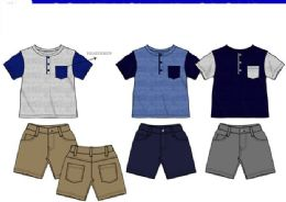 36 Bulk Boys Twill Short Sets 3 Colors Size 12-24
