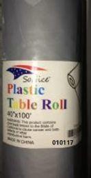 12 Bulk Plastic Table Roll In Silver 40x100