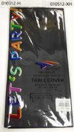 144 Bulk Heavy Duty Plastic Table Cover In Black 54x108