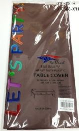 144 Bulk Heavy Duty Plastic Table Cover In Brown 54x108