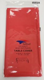 144 Bulk Heavy Duty Plastic Table Cover In Coral 54x108