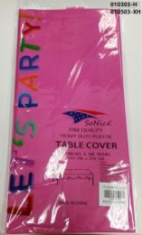 144 Bulk Heavy Duty Plastic Table Cover In Hot Pink 54x108