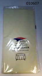 144 Bulk Heavy Duty Plastic Table Cover In Ivory 54x108
