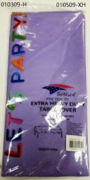 144 Bulk Heavy Duty Plastic Table Cover In Light Purple 54x108