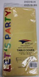 144 Bulk Heavy Duty Plastic Table Cover In Yellow 54x108