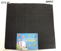 """48 Bulk Eva Foam W/ Glue And Glitter 12""""x12"""" 10 Sheets In Black"""
