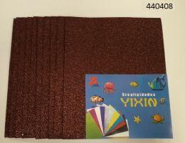 """48 Bulk Eva Foam W/ Glue And Glitter 12""""x12"""" 10 Sheets In Brown"""