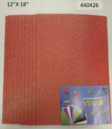 """48 Bulk Eva Foam W/ Glue And Glitter 12""""x12"""" 10 Sheets In Coral"""