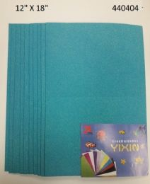 """48 Bulk Eva Foam W/ Glue And Glitter 12""""x12"""" 10 Sheets In Light Blue"""