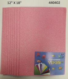 """48 Bulk Eva Foam W/ Glue And Glitter 12""""x12"""" 10 Sheets In Light Pink"""