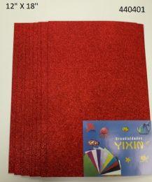 """48 Bulk Eva Foam W/ Glue And Glitter 12""""x12"""" 10 Sheets In Red"""
